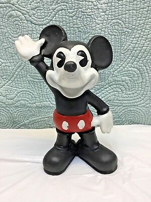 """Vintage Mickey Mouse Piggy Bank Coin Cast Iron 10"""" Tall"""