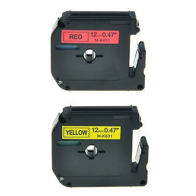 2PK MK431 MK631 12mm Black on Red Black on Yellow For Brother PT1190 Printers