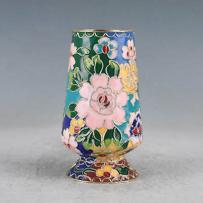 Chinese Cloisonne Hand-painted Flowers Brush Pot JTL1039+a