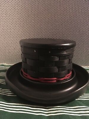 """Longaberger 2010 """"Frosty The Snowman"""" Top Hat Basket with Pottery Base"""