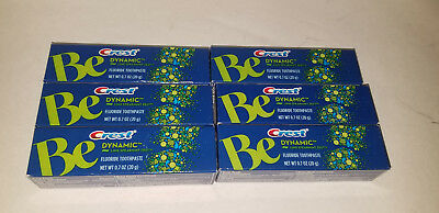 Lot of 6 rare Crest Be Dynamic Lime Spearmint Zest Toothpaste 0.7 OZ tubes