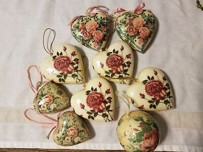 Vintage Victorian Style Floral Decoupage, Paper Mache, Easter Ornaments Lot of 9