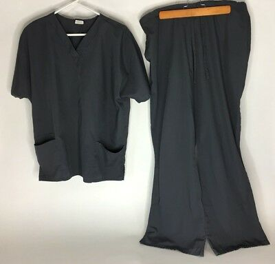 Cherokee Workwear Womens Scrubs Size L V Neck Charcoal Top & Pants Draw String