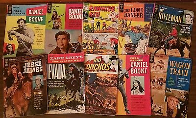 Lot Of 10 SILVER AGE WESTERN COMICS Lone Ranger, Rifleman, Rawhide Kid +++