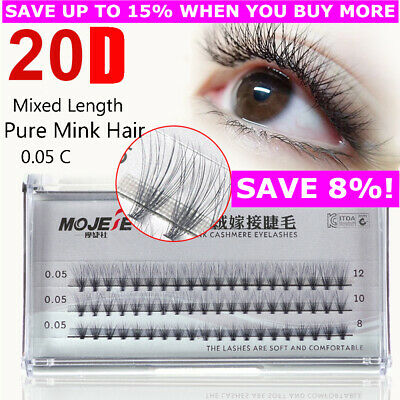 20D Individual Mink Hair False Eyelashes C Curl Flare Cluster Natural Lashes