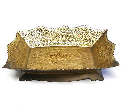 """Vintage Solid Brass Tray Decorative Floral Design Scalloped Edge Footed INDIA 9"""""""