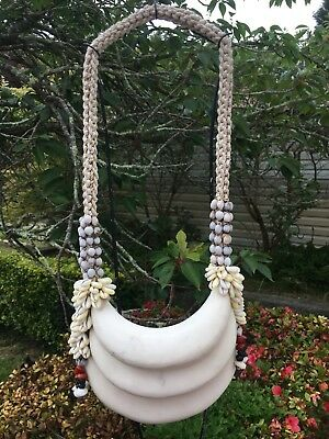 Large Vintage Ceremonial Necklace Tribal Papua New Guinea PNG Shell Asmat Coral
