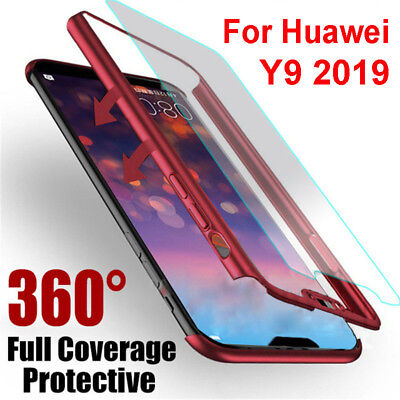 For Huawei Y9 2019 360° Cover Front + Back PC + Tempered Glass Shockproof Case