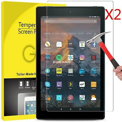 """2 Pack Genuine Tempered Glass Screen Protector For Amazon Kindle Fire HD 8"""" 2018"""