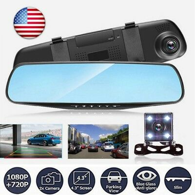 1080P HD Dual Lens Car DVR Mirror Monitor Dash Cam Reverse* Rear View Camera USA