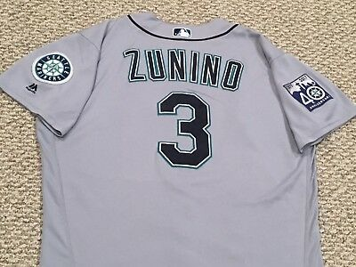 ZUNINO #3 size 48 2017 Seattle Mariners game used jersey road gray 40TH MLB HOLO