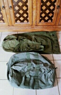(2) Ww2 1958 1963 Us Army Military Canvas Duffel & Flyer Kit Soldier Carry Bag