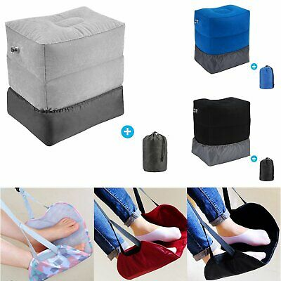 Office Home Travel Inflatable Hammock Carry Footrest Leg Foot Rest Pillow Pad