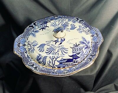 Vintage Burleigh Blue Willow Covered Vegetable Dish