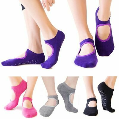 1 Pair Women Cotton Yoga Non-Slip Socks Gym Fitness Pilates Ballet UK