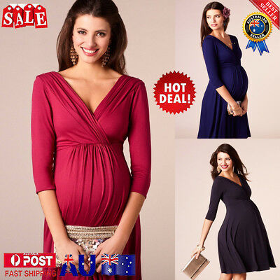 Pregnant Woman Maternity V Neck Dress Long Sleeve Cocktail Party Casual Dress