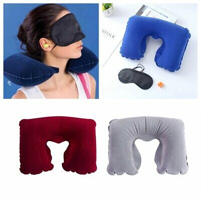 Portable Inflatable Travel Sleeping Pillow Neck Support Flight Head Rest Cushion