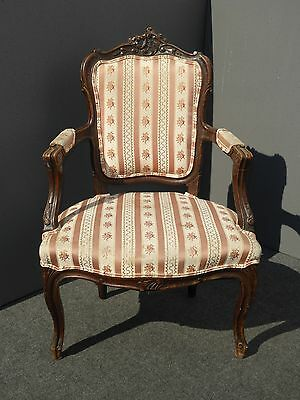 Vintage French Provincial Carved Mauve Striped Floral Accent CHAIR