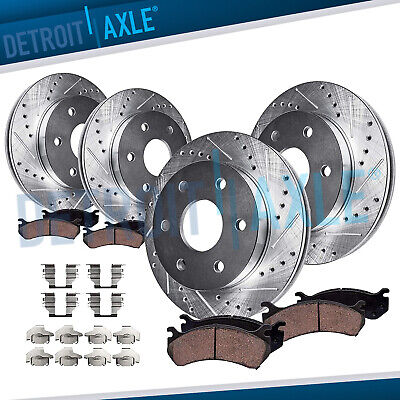 FRONT & REAR DRILLED Brake Rotor + Ceramic Pad Chevy & GMC Sierra