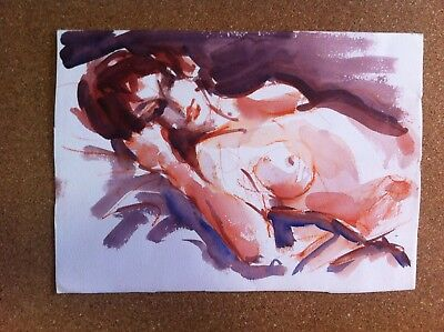 WATERCOLOUR NUDE BY SIDNEY FORT fellow of the royal art institute of nsw