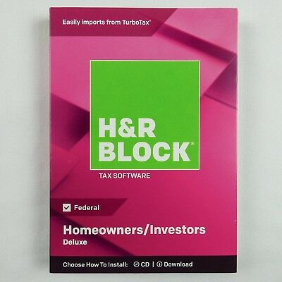 H&R Block Deluxe 2018 Homeowners/Investors Tax Software, Traditional Disc