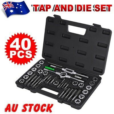 40Pcs Screw Screwdriver Thread Tap and Die Set Wrench Hand Drill Metric AU Ship