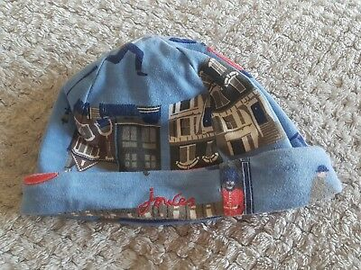 Joules Baby Boy Reversible Hat London Print Blue and Red