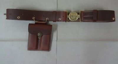 Leather Belt w/Double Mag. Pouch for WWII US Officer for Colt 1911 - Repro lV840