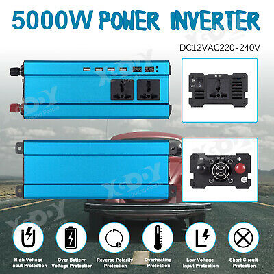 3000W/4000W/5000W Car Power Inverter DC12V to AC110V/220V LCD 4 USB Camping W7