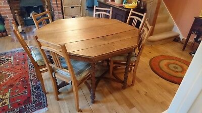 Antique Oak 8 Sided Dining Table