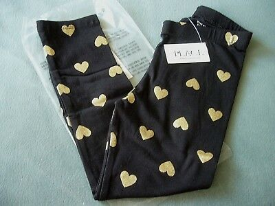 Bnwt Black Stretch Leggings 18-24 Months Gold Colour Hearts The Children's Place