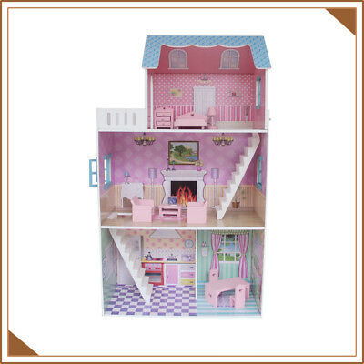 Children Furniture Wooden Kids Girl Doll House Staircase Fits Barbie Gift Toy