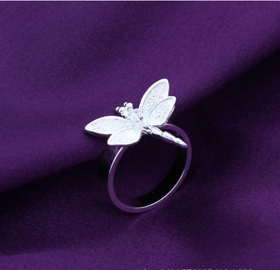 925 Silver Filled Dragonfly Ring for Girl's SZ 8