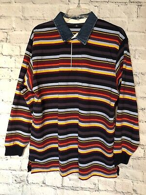 Vintage 90s Rugby Shirt Long Sleeve Red Blue Yellow Multi Color Stripe Men Xl
