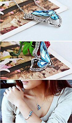 Butterfly Shape Blue Crystal Water Drop Pendant Necklace Rhodium Plated Zircon
