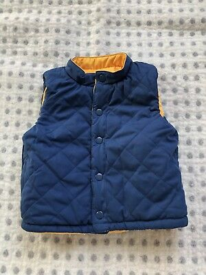 Baby Boys 3-6 Months Mothercare Reversable Body Warmer/gilet Blue And Yellow