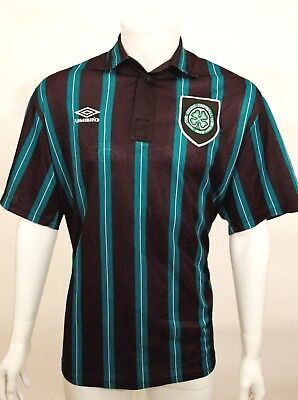 Genuine No Sponsor Vintage 1992 Glasgow Celtic Away Umbro Football Top Sz L