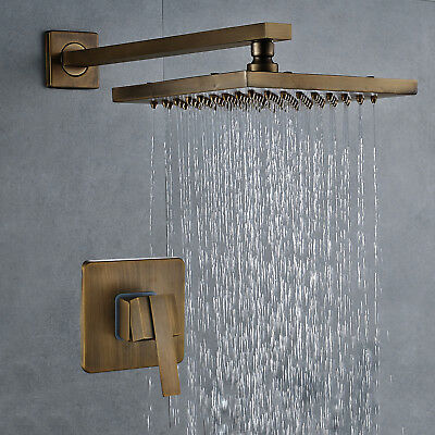 Antique Brass Wall Mount Bathroom Shower Faucet Set Rainfall Shower Head Sprayer