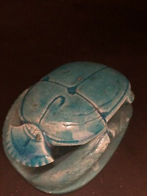 Rare Ancient Egyptian Blue Scarab Middle Kingdom (2000 BCE)