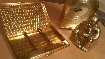 Vintage brass Buddha seiko chime alarm clock & gold metal case clock not working