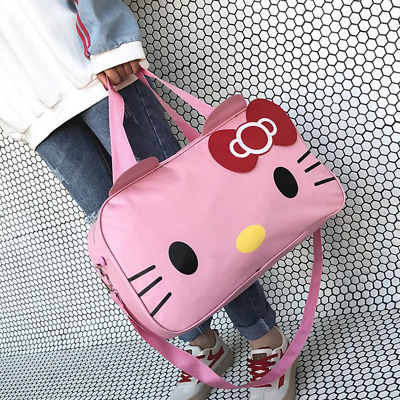 ac52255e2c8 HELLO KITTY LARGE Pink Black Duffle Travel Gym Bag Weekender Tote ...