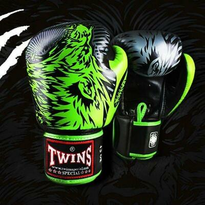 Twins Special Dark Green-Black Stripe Boxing Gloves Training Sparring FBGVL3-43