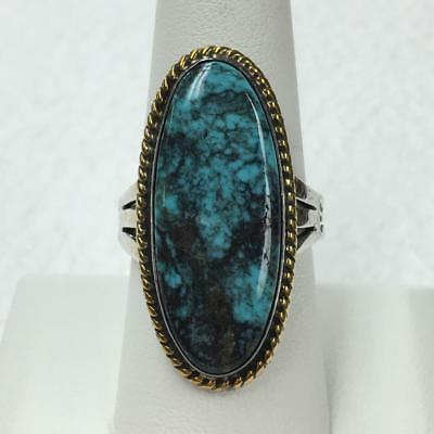 Stunning Native American Spiderweb Turquoise 925 Sterling Ring Size 8.5 - RARE