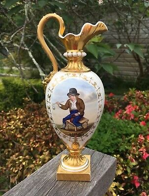 Lovely Old Antique 19th Century Bloor Derby Ewer Jug Repaired Circa 1835