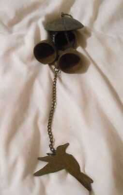 Vintage Ornate Brass Bell Chimes Beautiful Bird At Bottom See Pics Old