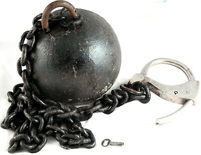 Tower Ball & Chain Antique Old West Prison Artifact Works Includes Key Leg Irons