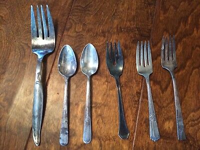 Vintage Silver Plate Assorted Flatware 6 Piece Lot - WM Rogers Holmes & Edwards