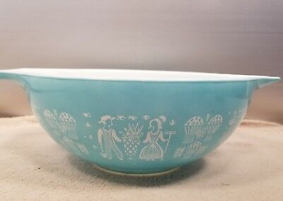 Large Vintage PYREX 444 Turquoise AMISH BUTTERPRINT Rooster MIXING BOWL 4 qt