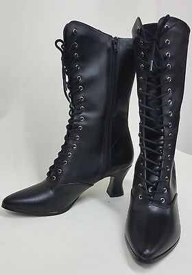 new goth Victorian style boots .  mid calf pointed toe lace up boots  black...