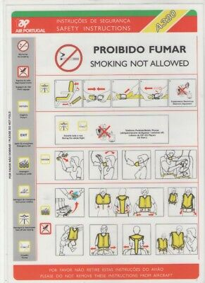TAP  PORTUGAL    Airbus  A320   Safety Card   (MOD 2087 COD 34637 AGOSTO 2001 )